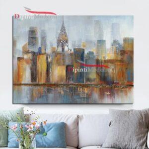 Dipinti con paesaggio fiume e palazzi