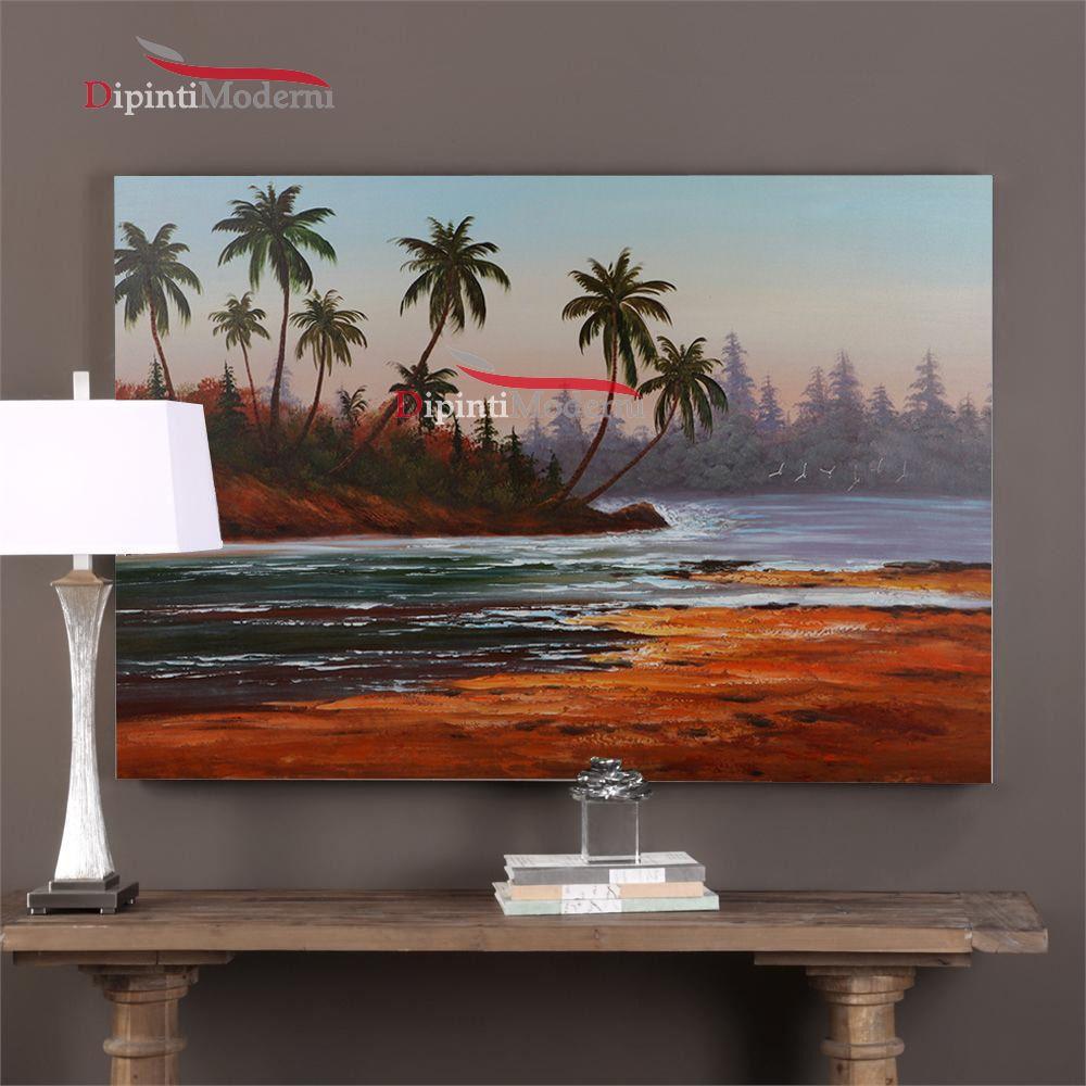 Dipinti con paesaggio palme sul fiume