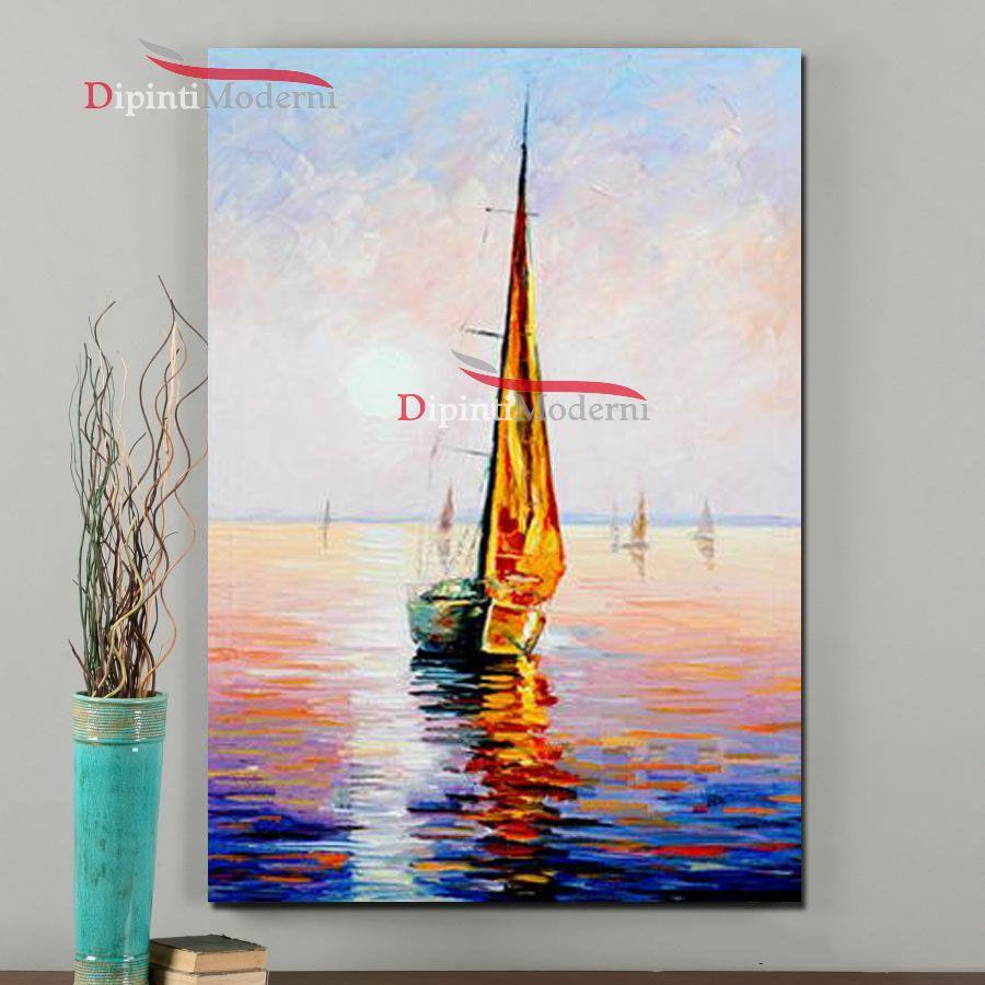 Dipinto a mano barca a vela dipinti moderni for Dipinti ad olio moderni