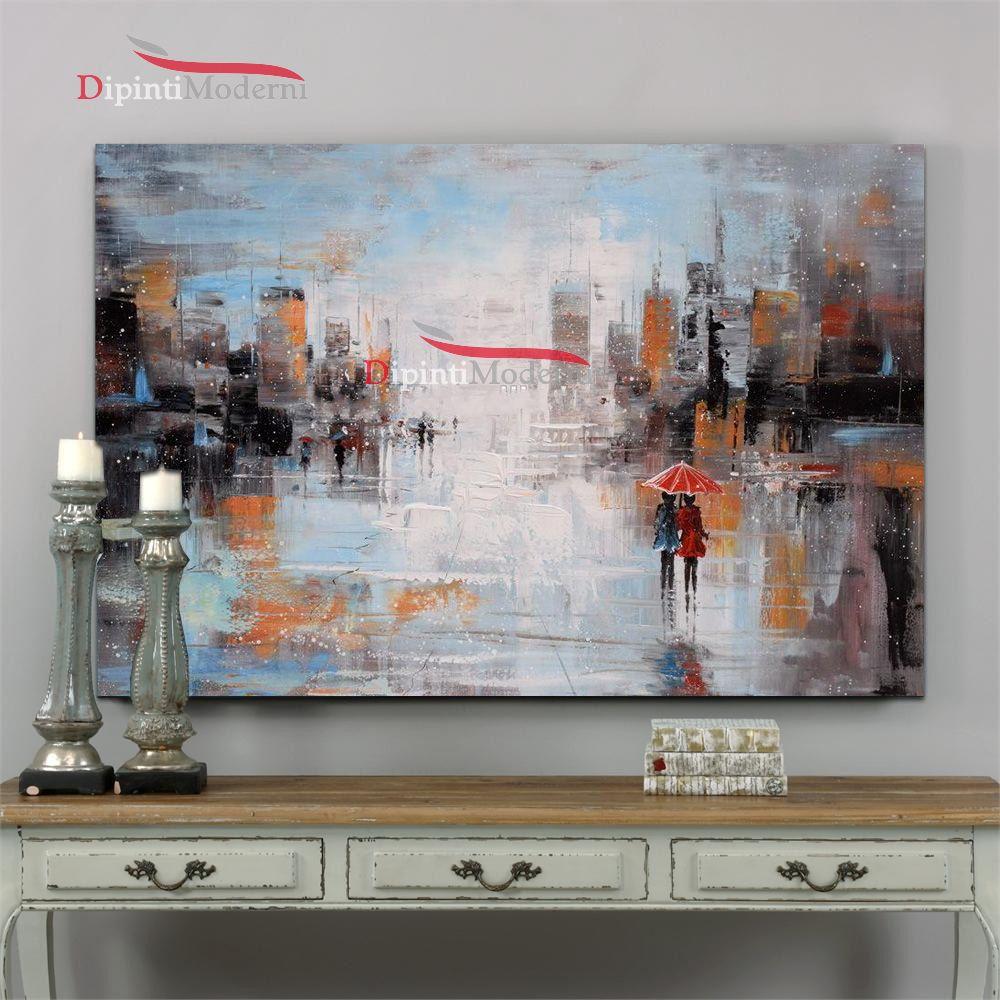 Dipinto a mano innamorati sotto ombrello dipinti moderni for Quadri dipinti a mano paesaggi