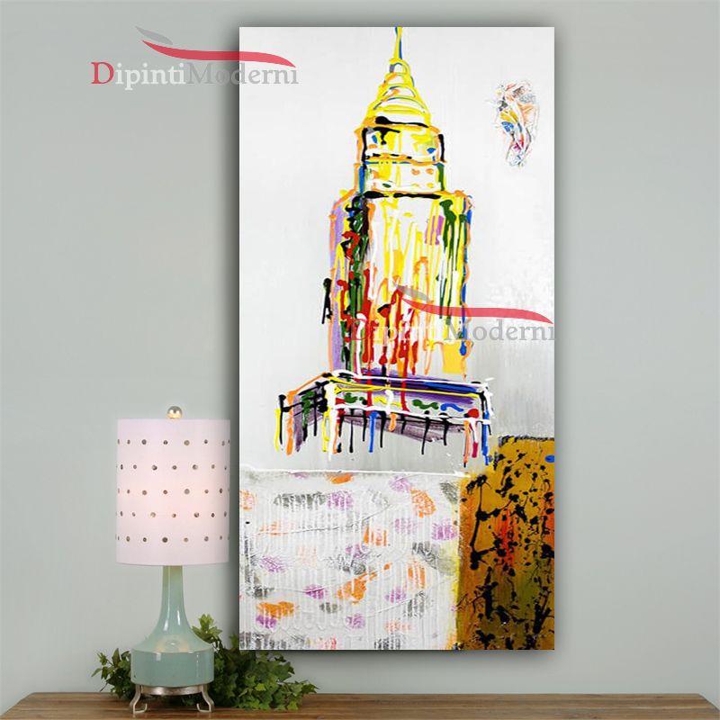 Dipinto astratto torre gialla