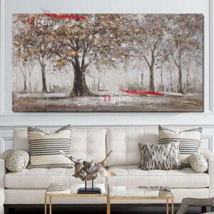 Dipinto con paesaggio alberato grigio marrone