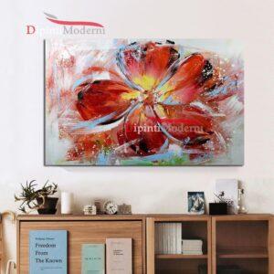 Quadri astratti grande fiore rosso