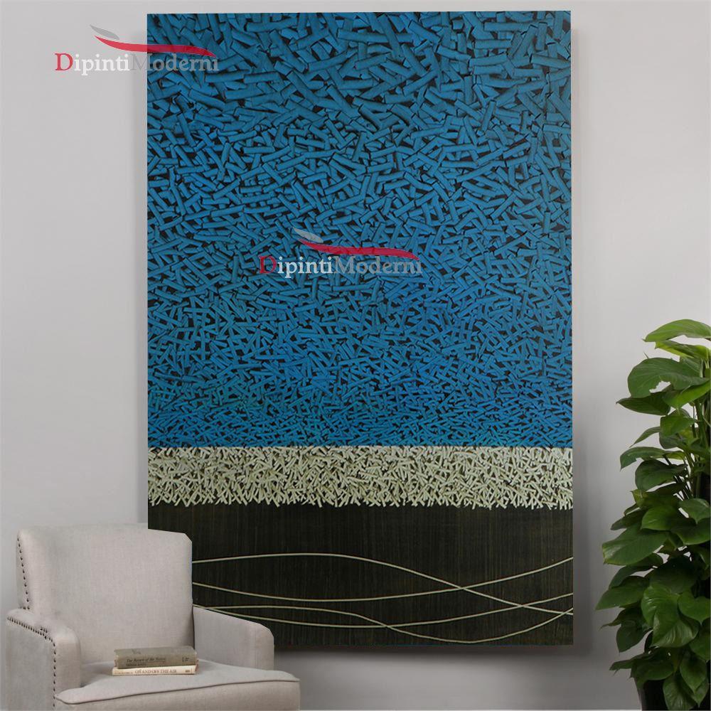 Quadri astratti minimalisti azzurro materici dipinti moderni for Quadri astratti materici