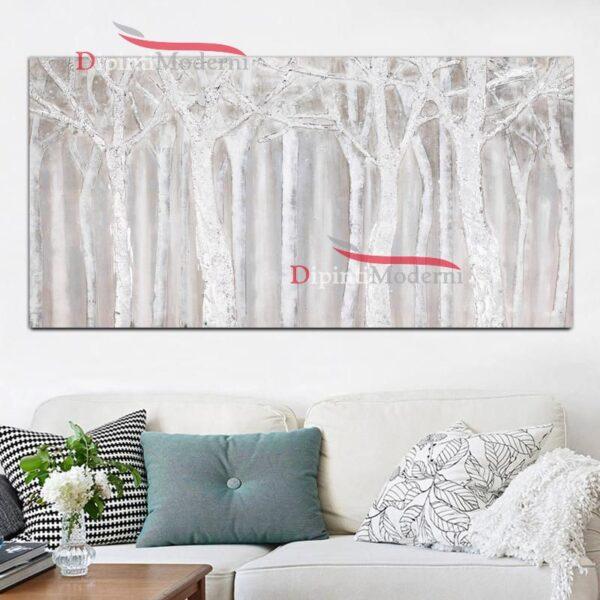 Quadri con alberi bianchi astratti