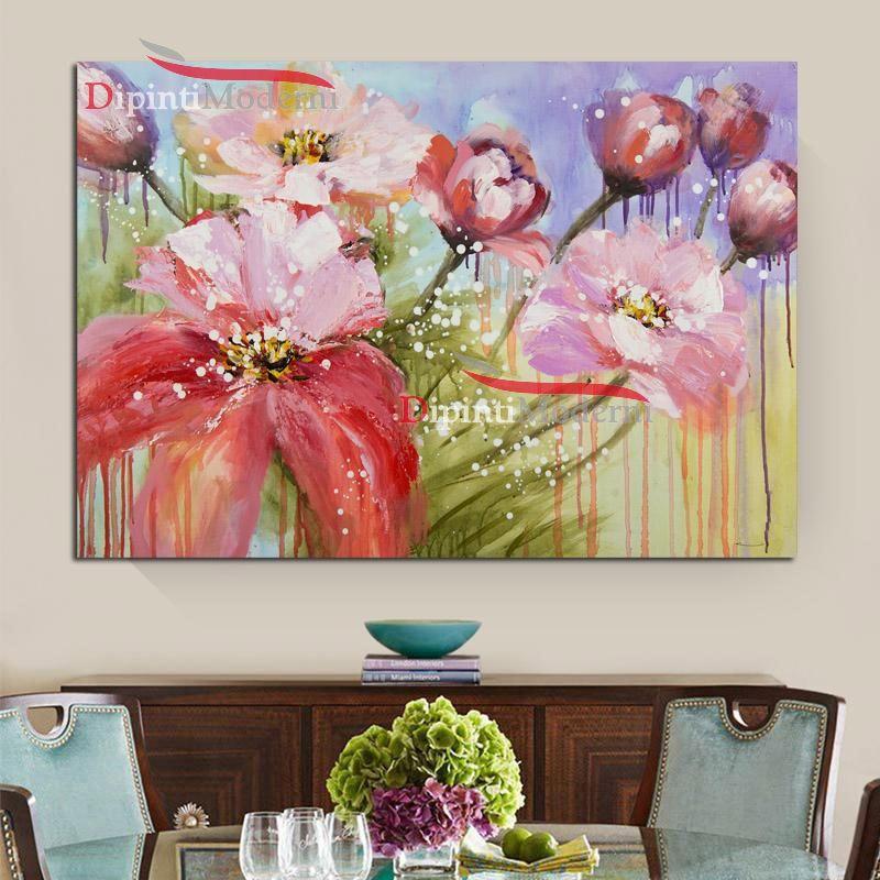 Quadri con fiori rosa arredamento soggiorno - Dipinti Moderni