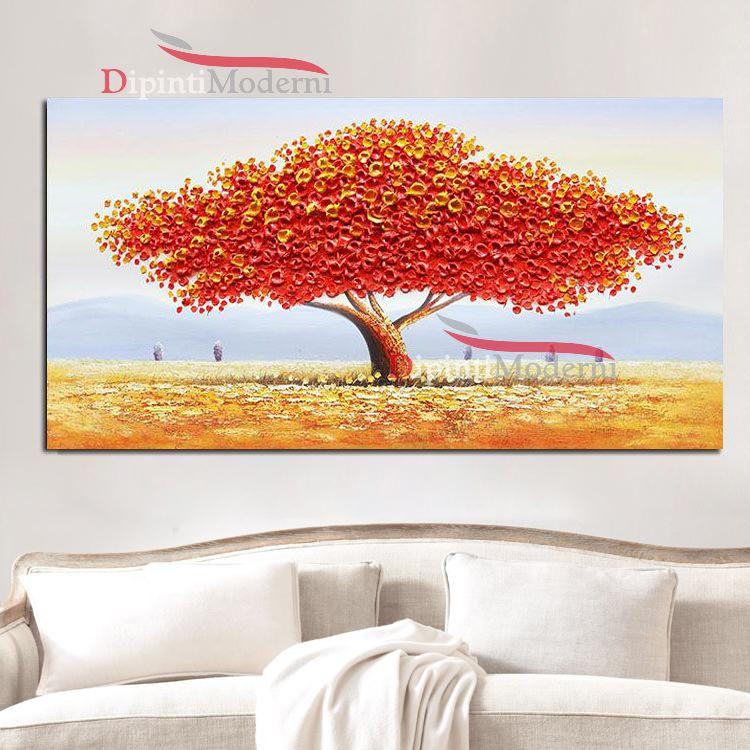 Quadri con grande albero chioma rossa rilievo - Dipinti Moderni