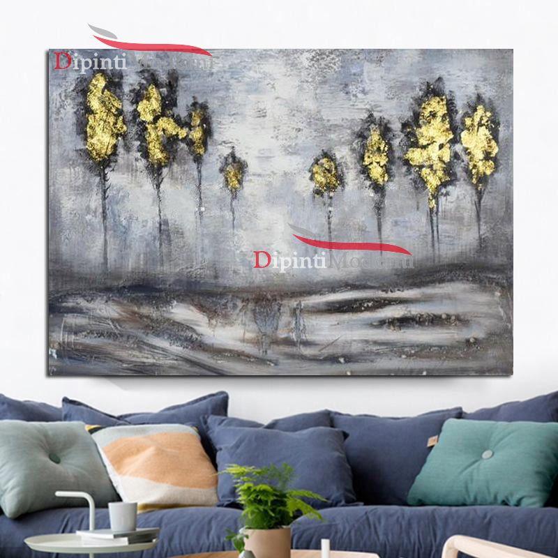 Quadri con paesaggio alberi gialli astratti - Dipinti Moderni