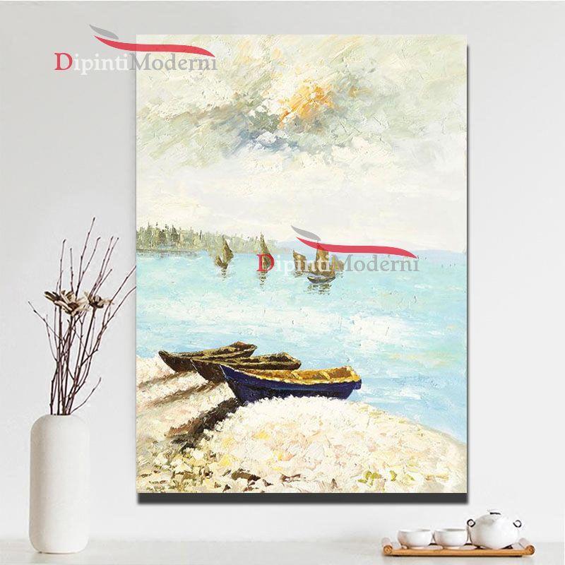Quadri dipinti a mano sponda del lago con barche dipinti for Quadri dipinti a mano paesaggi
