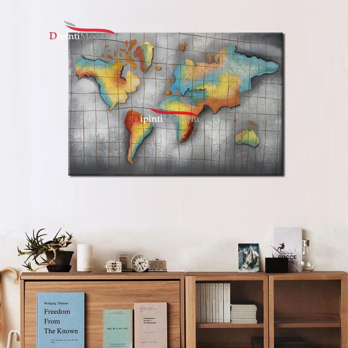 Cartina Giografica.Quadri Moderni Cartina Geografica Mondo Colorato Dipinti Moderni