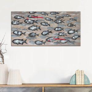 Quadri moderni con banco di pesci dipinti a mano
