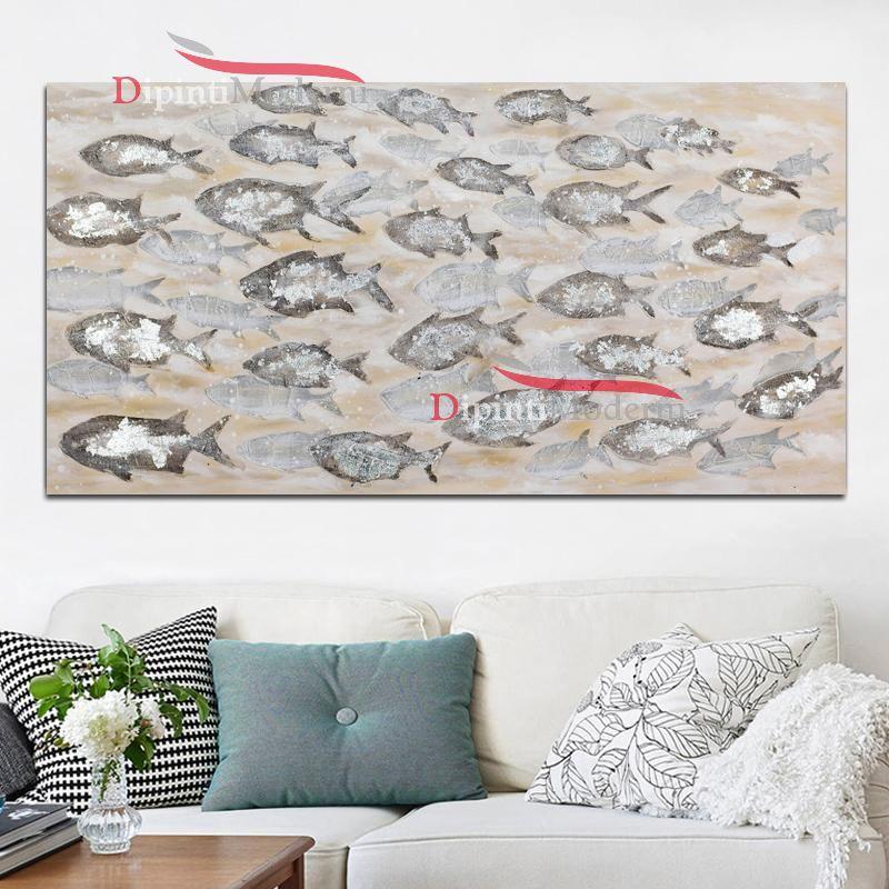 Quadri moderni con banco di pesci dipinti a mano - Dipinti Moderni