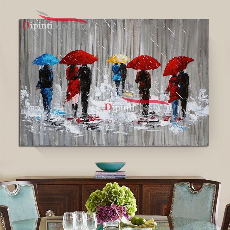 Quadri moderni persone sotto la pioggia con ombrelli for Quadri e quadri