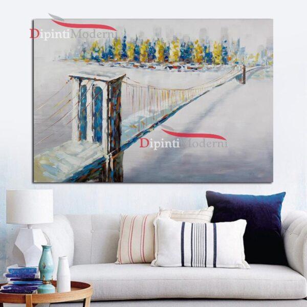 Quadri moderni ponte cavi sospesi dipinto a mano