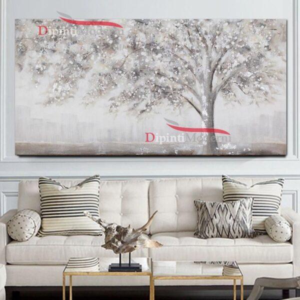 Quadri moderni shabby chic con albero bianco dipinto a mano