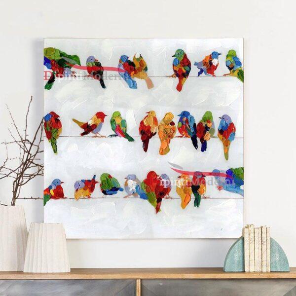 Quadri moderni uccellini colorati su fili panni