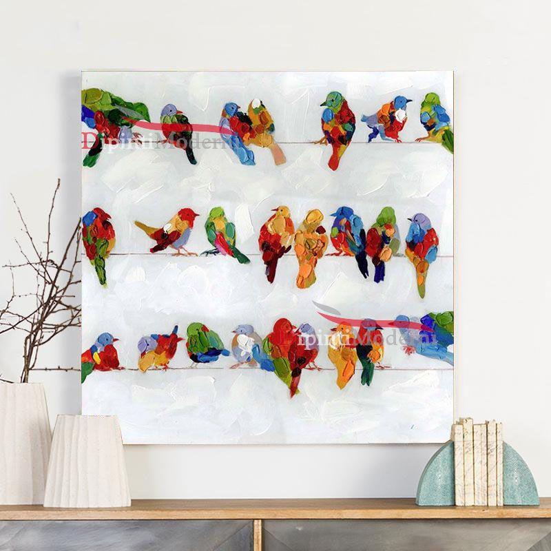 Quadri moderni uccellini colorati su fili panni - Dipinti Moderni
