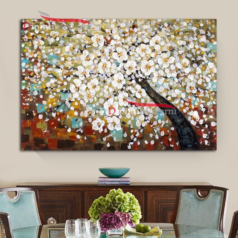 Quadri su tela albero con fiori bianchi astratti dipinti for Albero con fiori blu