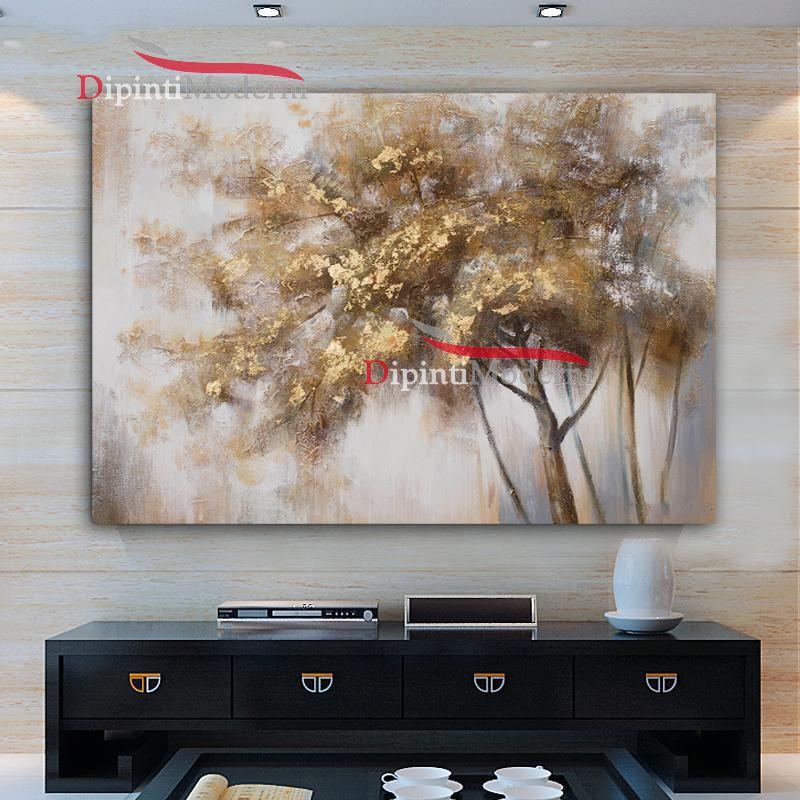 Quadri su tela con alberi dipinti a mano dipinti moderni for Dipinti a mano su tela