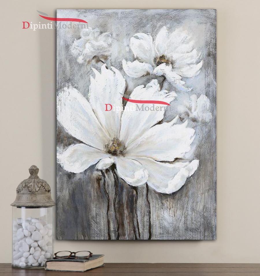 Quadri verticali con fiori bianchi - Dipinti Moderni