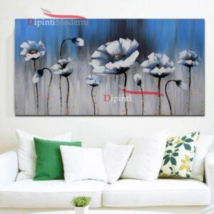 Quadro astratto su tela fiori bianchi cielo azzurro