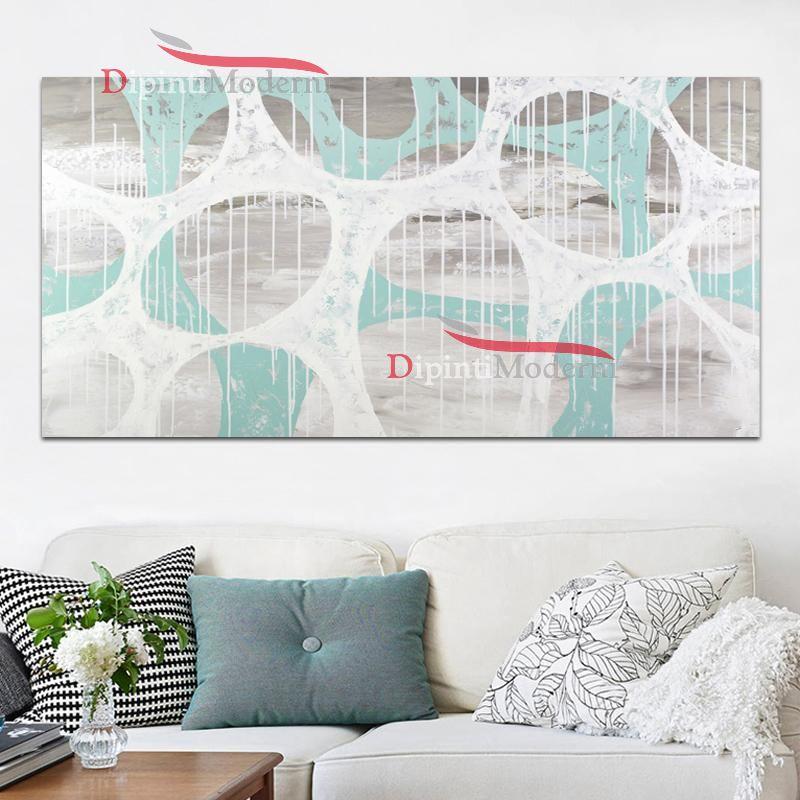 Quadro con immagini astratte bianco celeste dipinti moderni for Immagini astratte moderne