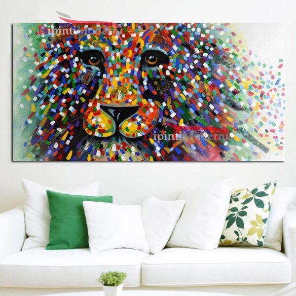 Quadro con leone colorato astratto
