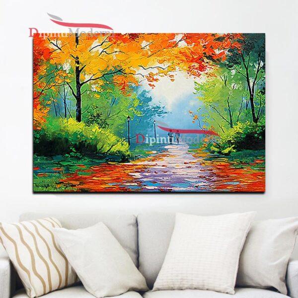 Quadro dipinto a mano sentiero verde autunno