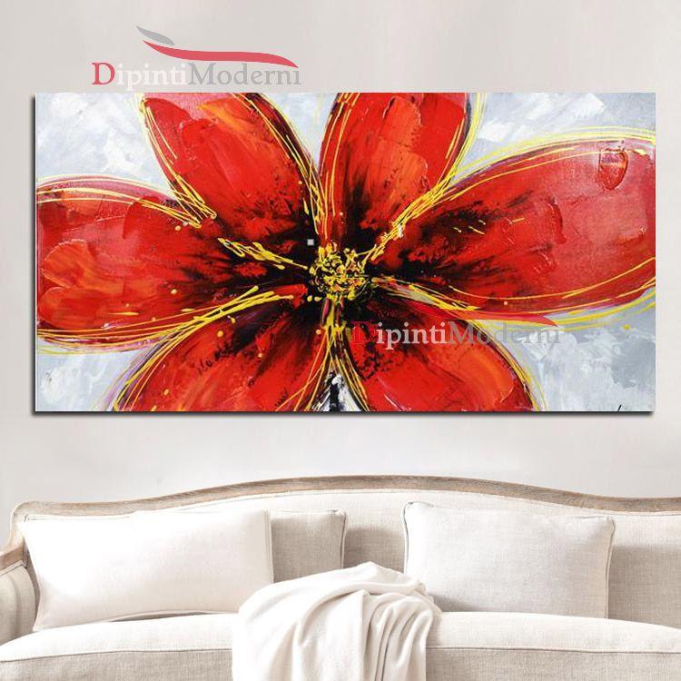 Quadro fiore ibisco rosso dipinto a mano