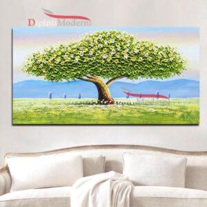 Quadro moderno con albero verde pittura rilievo