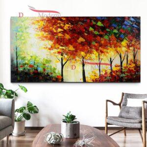 Quadro su tela alberi colori caldi