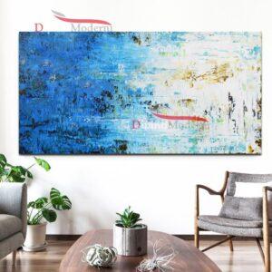 Quadro su tela azzurro decorativo zona giorno