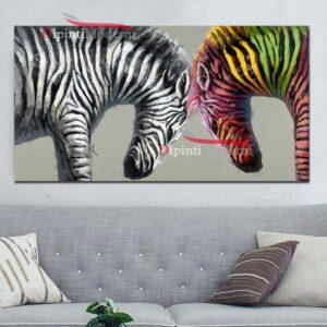 Quadro su tela con zebre colorate