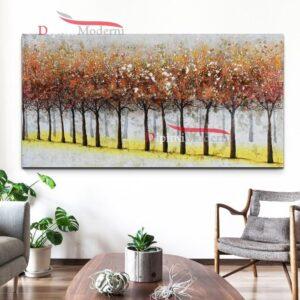 Quadro su tela filare di alberi in autunno