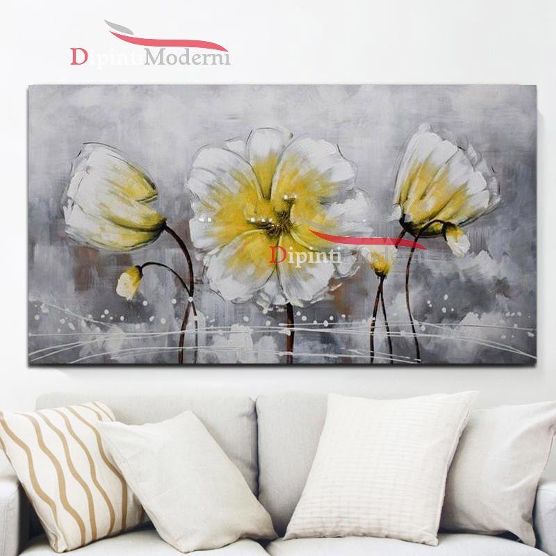 Quadro su tela fiori gialli dipinti moderni for Quadri moderni dipinti su tela