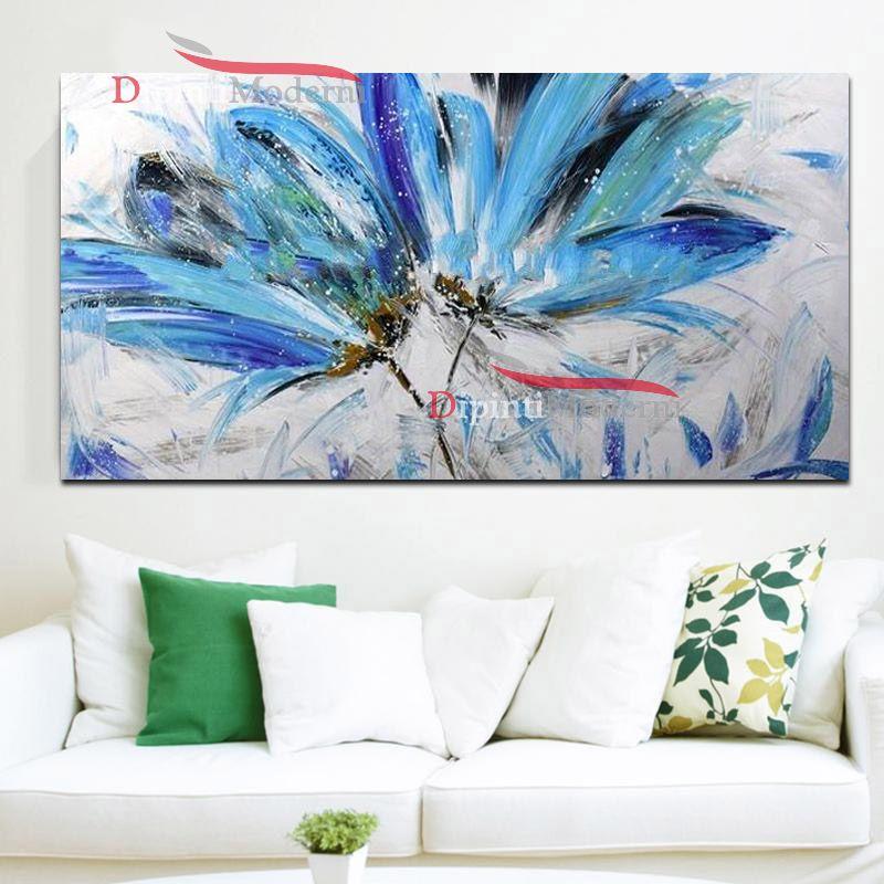 Quadro su tela moderno fiori azzurri - Dipinti Moderni