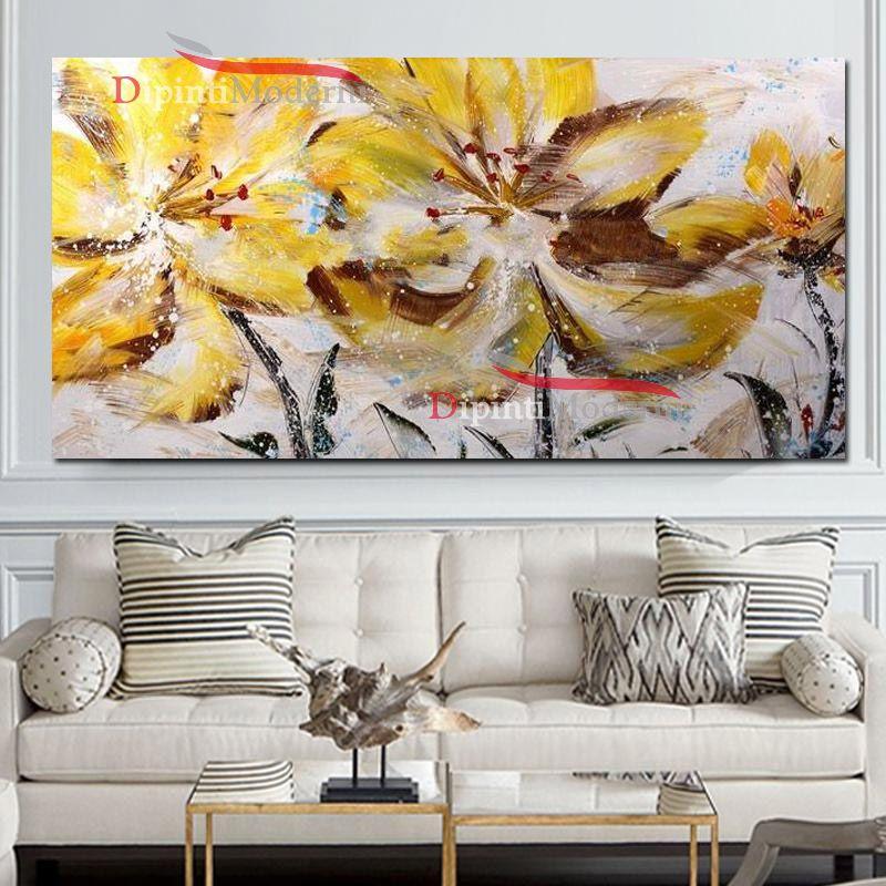 Quadro su tela moderno fiori gialli dipinti moderni for Quadri moderni su tela