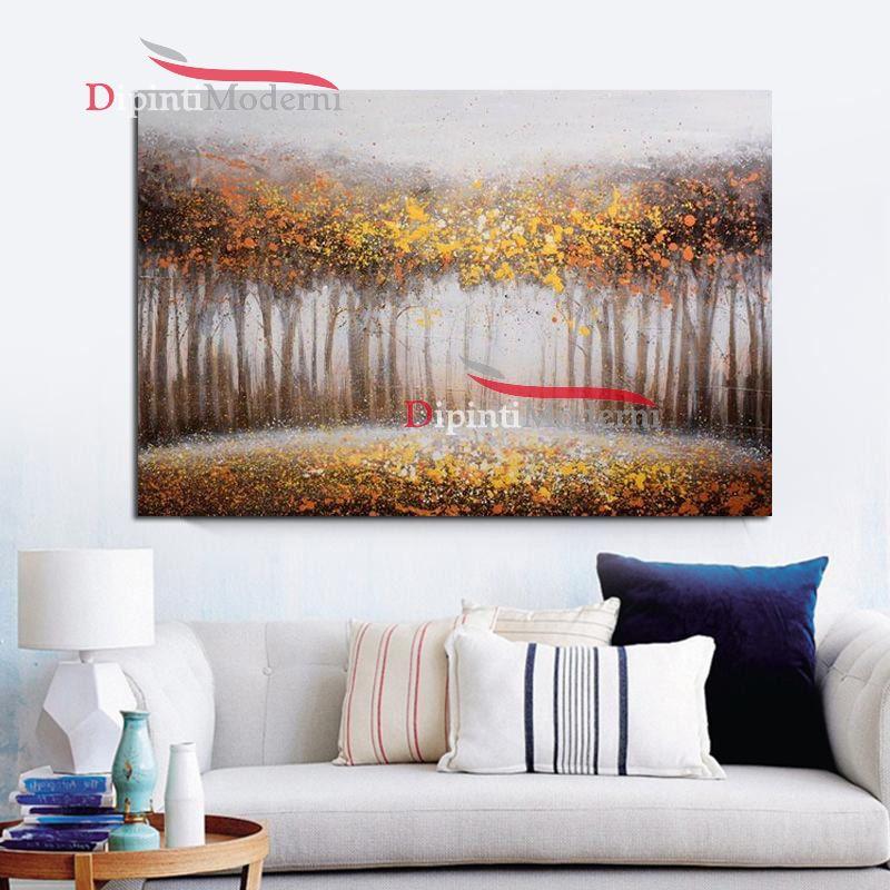 Dipinti a mano paesaggio bosco in autunno dipinti moderni for Dipinti a mano moderni