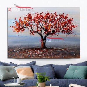 Dipinto con paesaggio albero chioma rossa