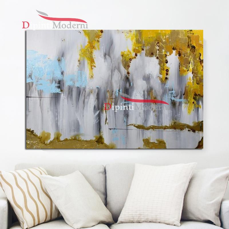 quadri astratti pittura giallo grigio