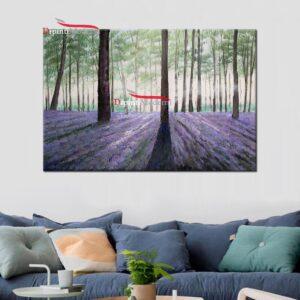 quadri con paesaggio alberato campo di lavanda