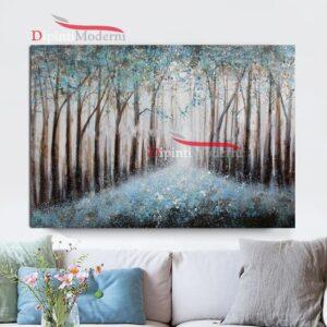 quadri moderni con viale alberato celeste