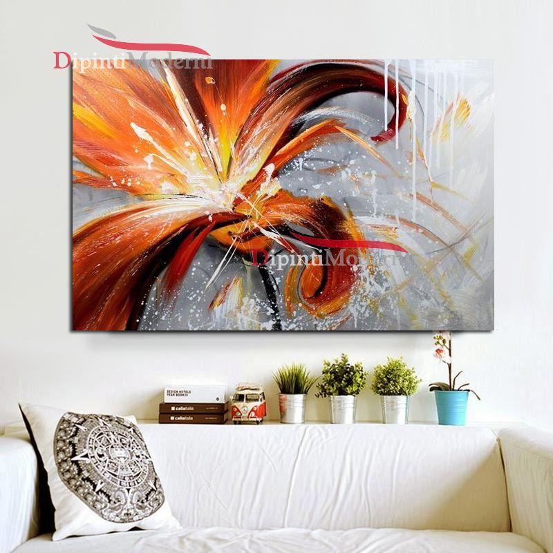 Quadro con grande fiore arancione dipinti moderni for Quadri moderni fiori dipinti a mano