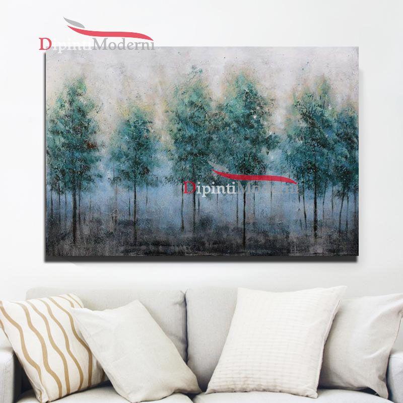 quadro moderno paesaggio alberi azzurri