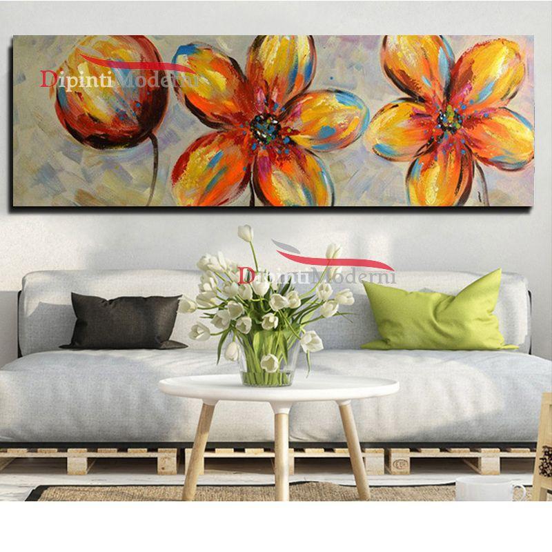 Dipinti moderni fiori astratti colorati su tela dipinti for Quadri moderni fiori dipinti a mano