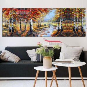 Dipinti moderni ruscello nel bosco