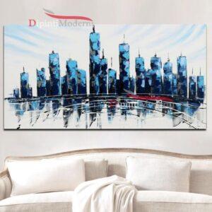 Dipinti su tela grattacieli blu astratti