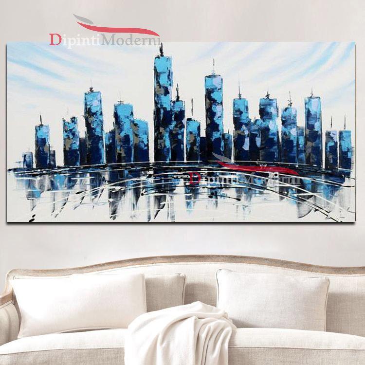 Dipinti su tela grattacieli blu astratti dipinti moderni for Dipinti su tela astratti moderni
