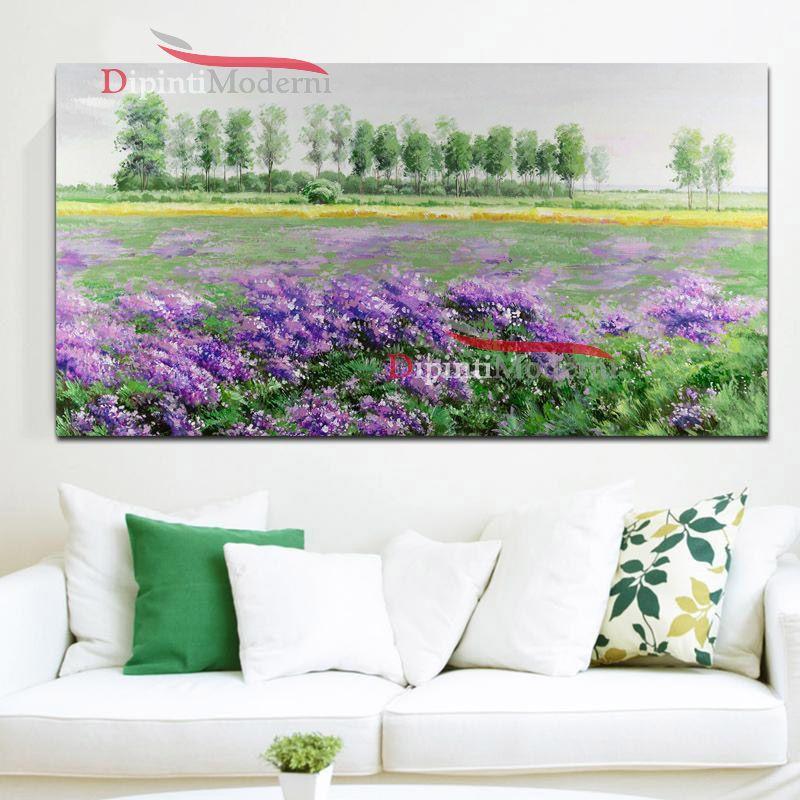 Dipinti su tela paesaggio di campagna verde viola