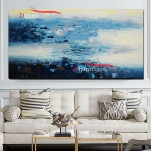 Dipinti su tela sfumature blu bianco astratti